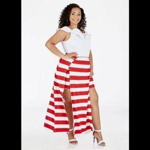 Ashley Stewart Striped Skirt Maxi Romper 18-20